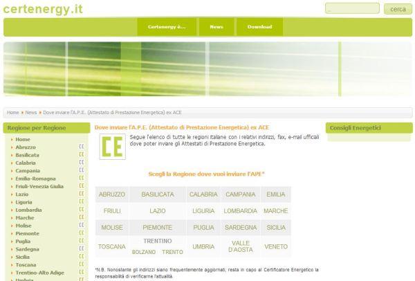 Certenergy - Dove inviare l'Attestazione di Prestazione Energetica - APE