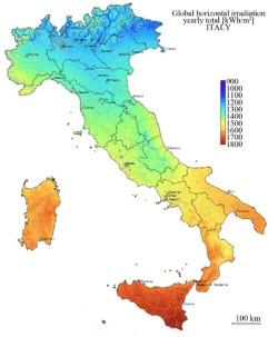 Irradiazione solare italia